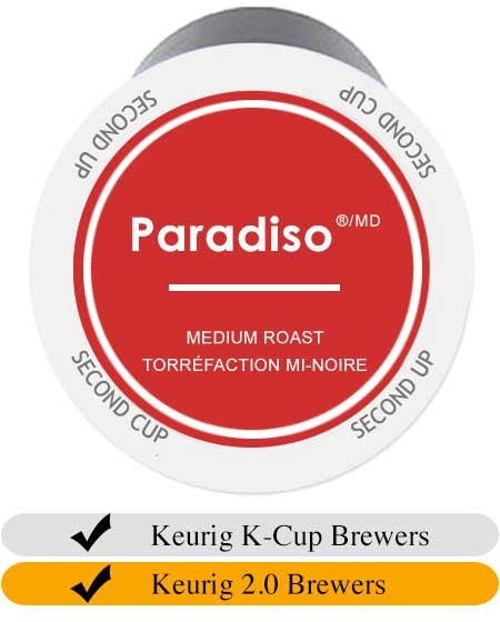 Second Cup Paradiso Medium Keurig Cups x 24