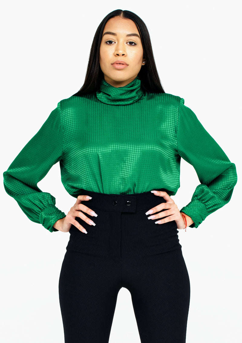 Emerald Houndstooth Blouse