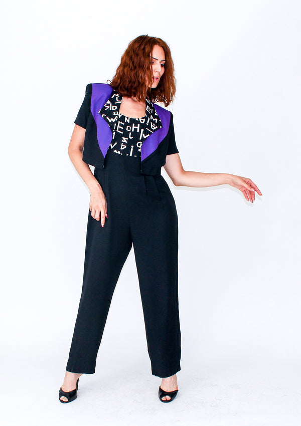 Graphic Jumpsuit & Bolero Set