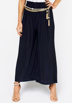 Navy Pleated Culottes
