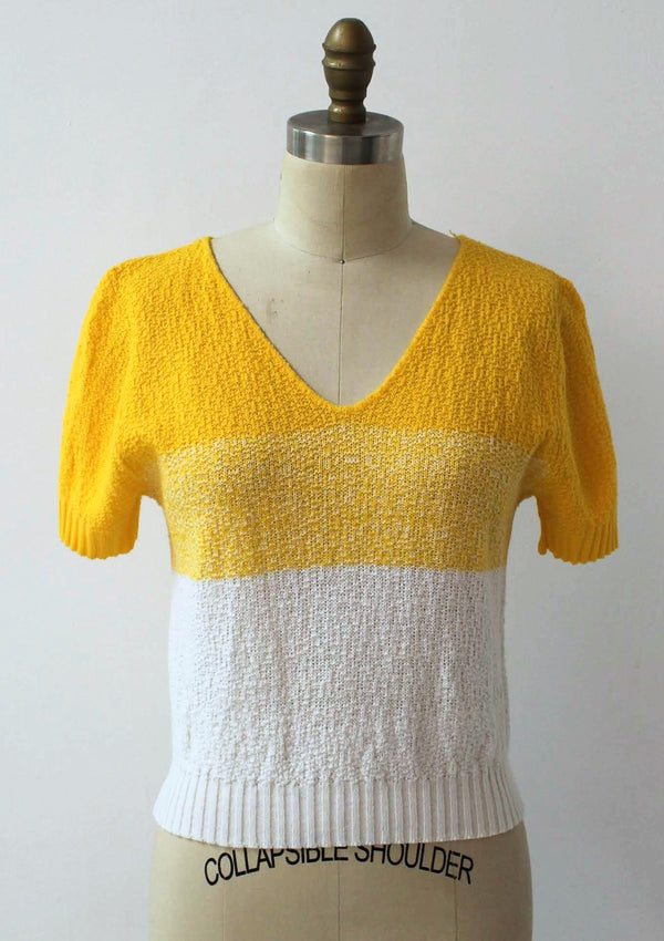 Yellow Striped Crop Sweater