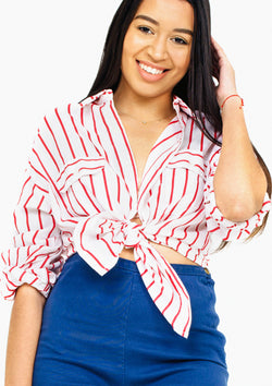 Red Striped Button-Up