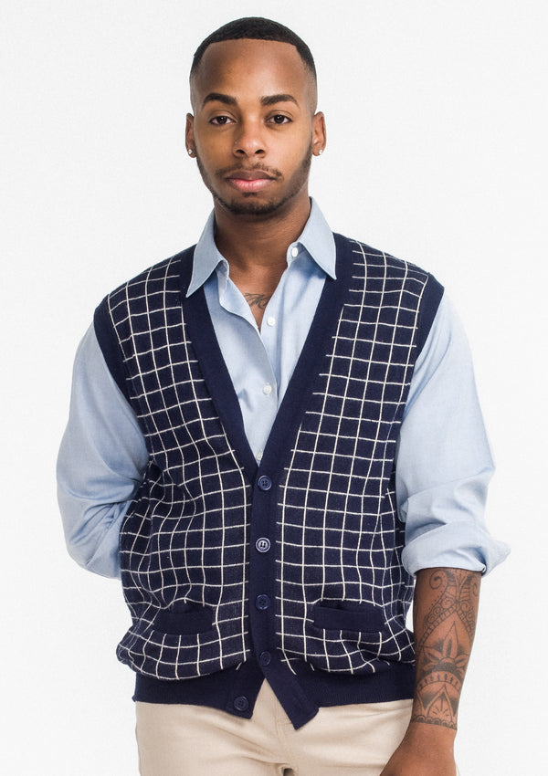 Grid Sweater Vest