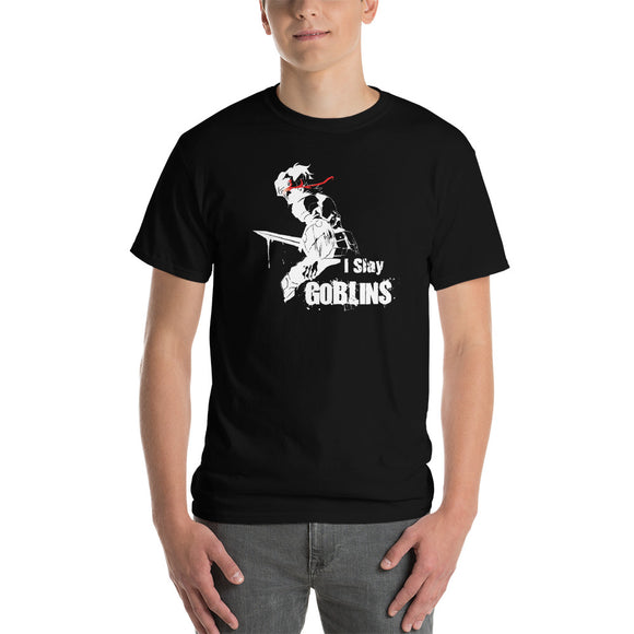 I Slay Goblins (side view) Goblin Slayer Inspired Unisex classic fit  Short-Sleeve T-Shirt - Light Novel Shirts