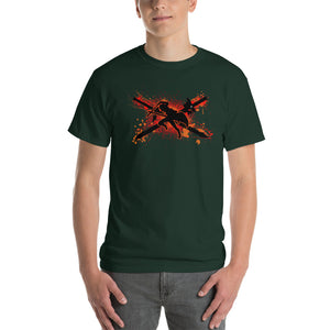 Crossed Swords (No Text, Orange/Red Ver) Sword Art Online Inspired Classic Fit Short-Sleeve T-Shirt - Light Novel Shirts