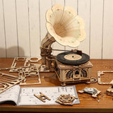 Invented in USA - Gramophone - fully functional wooden-town construction kit