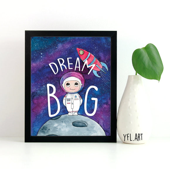 Astronaut Nursery Print - Dream Big - Watercolour illustration by YFL.ART