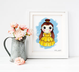 Beauty and the Beast Disney Print - Belle Print - Watercolor art print