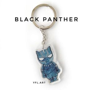 Black Panther Keychain - Double sided key ring