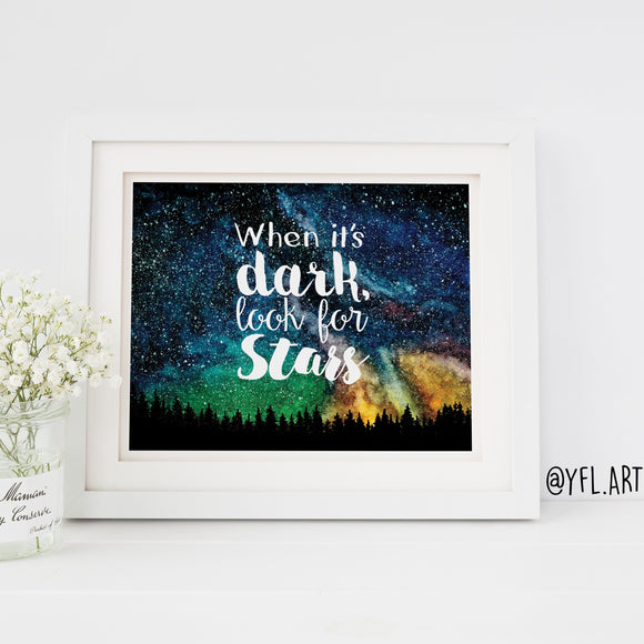 When it's dark look for stars - Download - Watercolour print or wallpaper