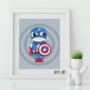 Captain America nursery art print