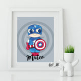 Captain America personalized kids room wall art print