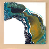 "Original Painting - 3 feet by 3 feet - ""The Water Curves"" - Acrylic painting with Resin finish"