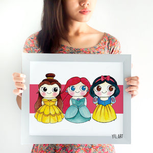 Disney Princess Fan Art Poster - Ariel, Belle and Snow White