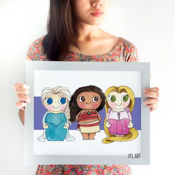 Elsa, Moana and Rapunzel