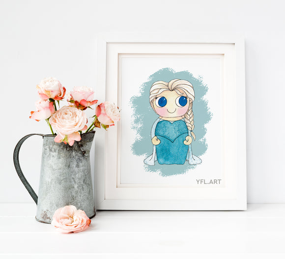 Elsa Frozen Disney Princess - Watercolor art print