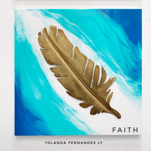 "Original Painting - 3 feet by 3 feet - ""Faith"" - Resin painting with Brass feather accent"
