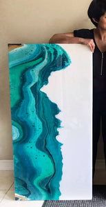 "Original Paintings - ""Water Hills I & II"" - Acrylic painting with Resin finish"