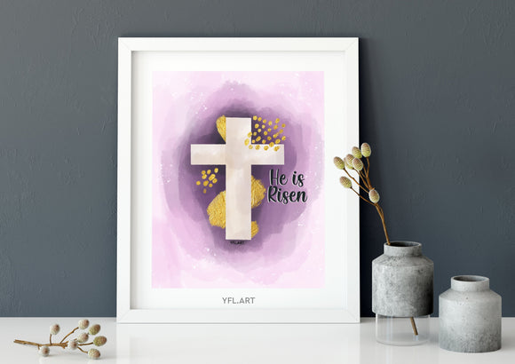 He is Risen - FREE Download - Watercolour print or wallpaper
