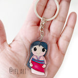 Mulan Charms Keychain - Double sided Keychain