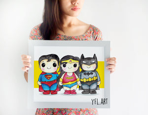 Justice League Print  - Watercolor art print