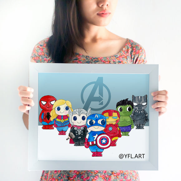 Avengers wall art poster kids room