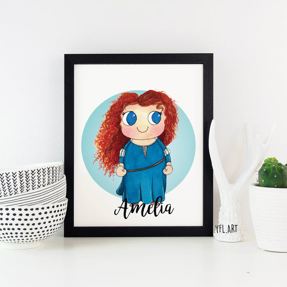 Brave - Merida Disney Princess - Watercolor art print