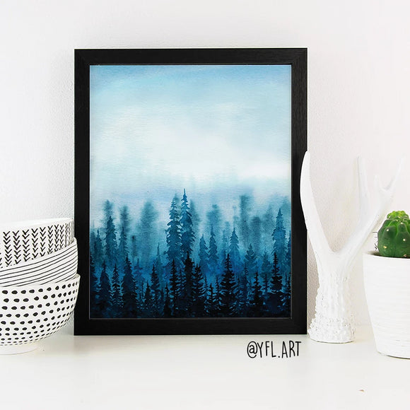 Misty Forest - Watercolor Painting - Art Print - 8x10 inches