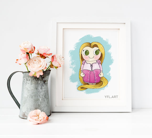 Tangled- Rapunzel Disney Princess - Watercolor art print