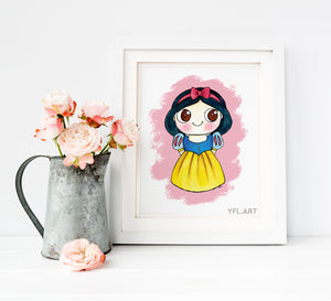 Snow white - Watercolor Art Print