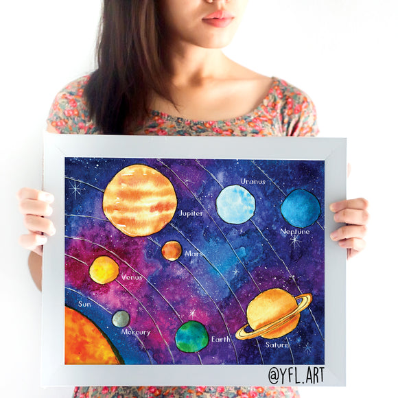 Solar System - Large Watercolor Art Print - 11x14 inches