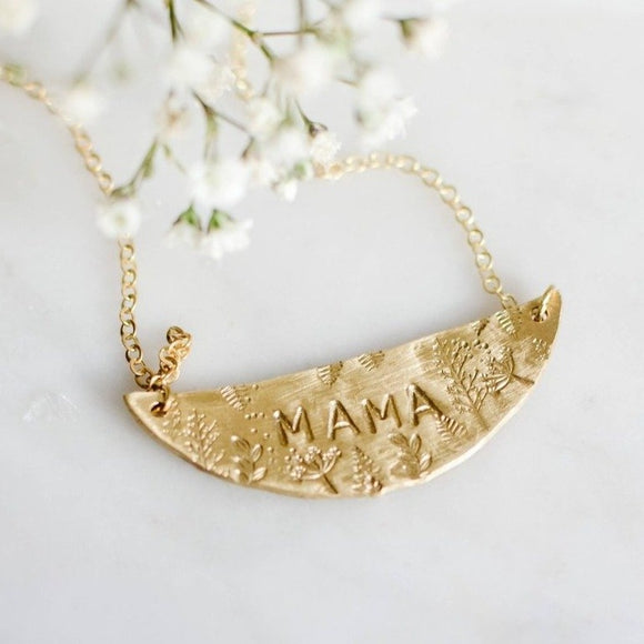 NECKLACE - MAMA - Hammered Brass - Handmade by Spark & Thistle