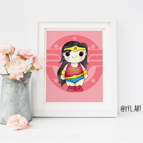 Wonder Woman Print - Watercolor art print