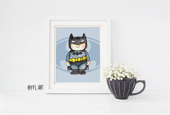 Batman watercolor nursery wall art print