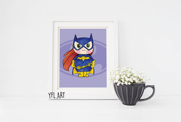 Batgirl watercolor nursery wall art print