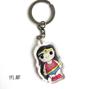 Wonder Woman Keychain - Double sided key ring