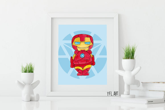 Iron Man Print - Watercolor art print