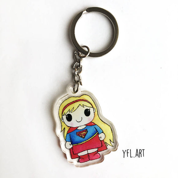 Supergirl Keychain - Double sided key ring