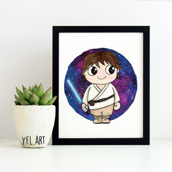 Luke Skywalker Print - Watercolor Art Print