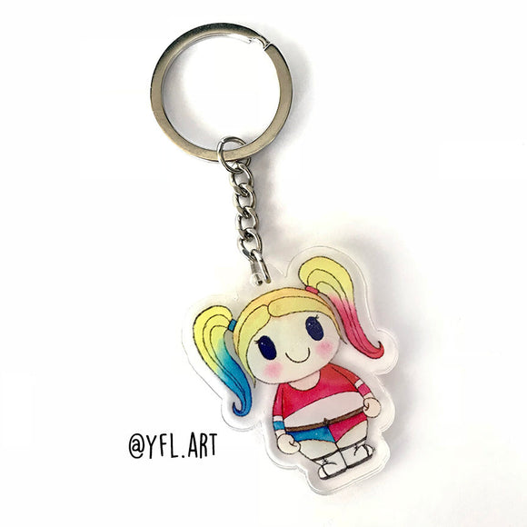 Harley Quinn Keychain - Double sided key ring