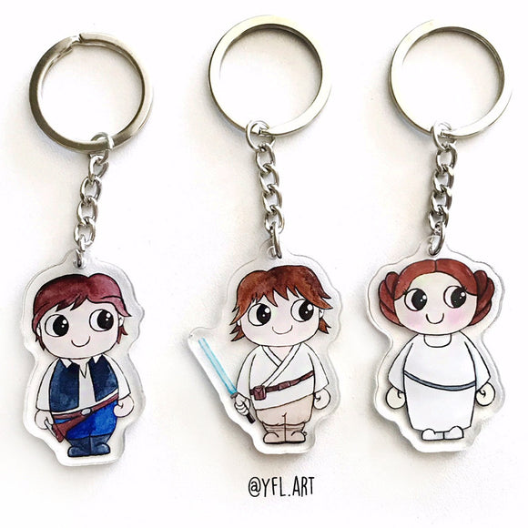 Star Wars Keychain SET- Double sided key ring - SET of 3