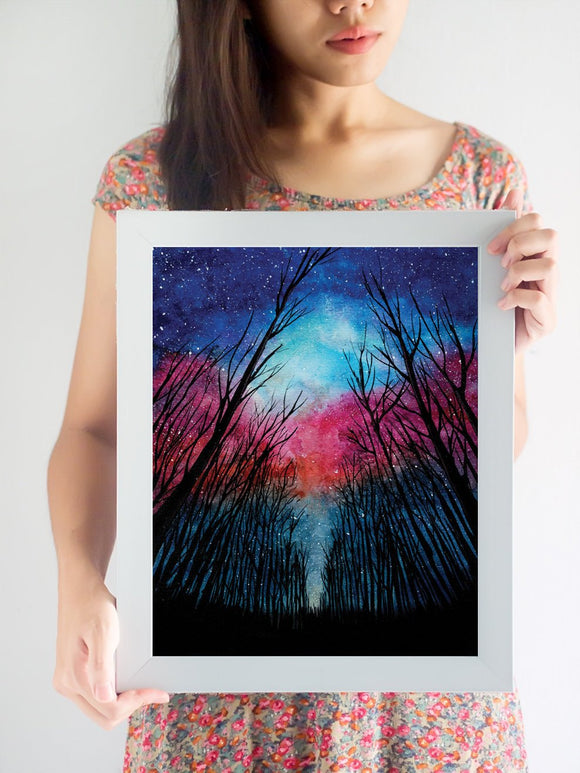 Watercolor forest milky way art print