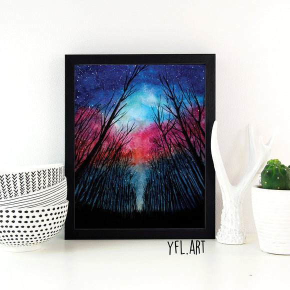 Forest watercolor art print