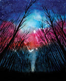 Watercolor landscape forest milky way poster