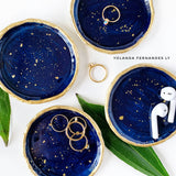 Navy blue with gold ring jewelry dish