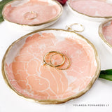 Peony Ring Dish -MADE TO ORDER - Coral - Handmade Clay & Resin Dish