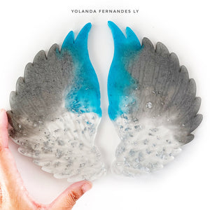Large Resin Angel Wings - Silver, blue, silver flakes