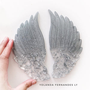 MADE TO ORDER - Resin Angel Wings - Silver with silver flakes