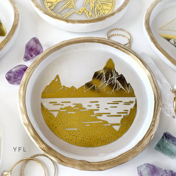 Mountain gold foil collection - Ring Dish - Handmade Clay & Resin Dish