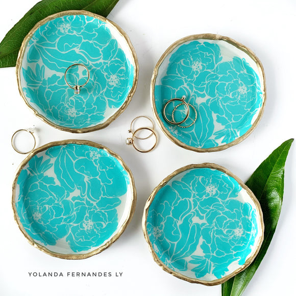 Peony Ring Dish -MADE TO ORDER- Turquoise - Handmade Clay & Resin Dish